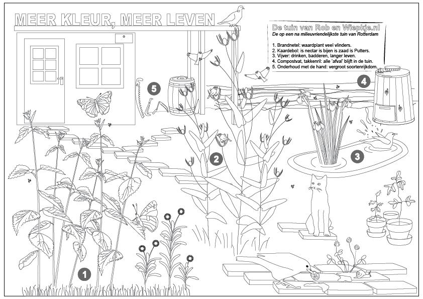 Verborgen tuinen 2015 - kleurplaat Tuin van Rob en Wiepkje